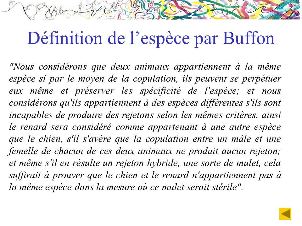 Définition de l'espèce par Buffon