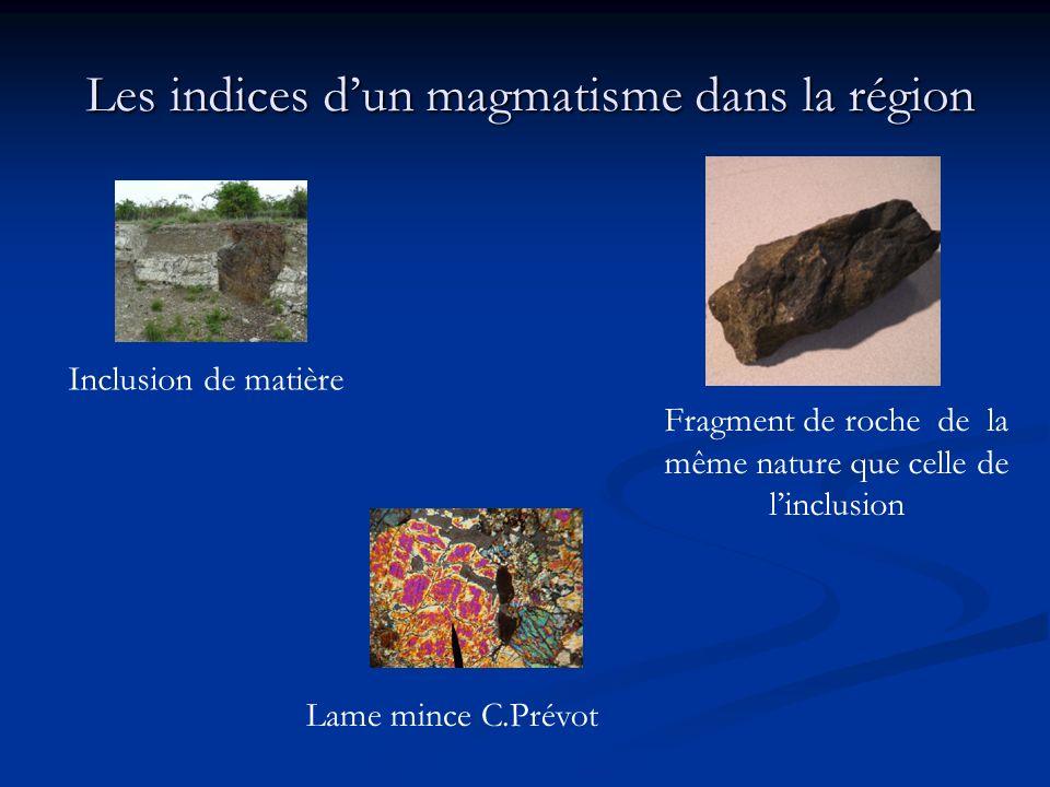 Les indices d'un magmatisme dans la région