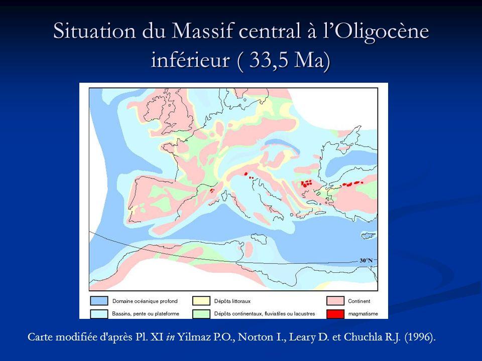 Situation du Massif central à l'Oligocène inférieur ( 33,5 Ma)