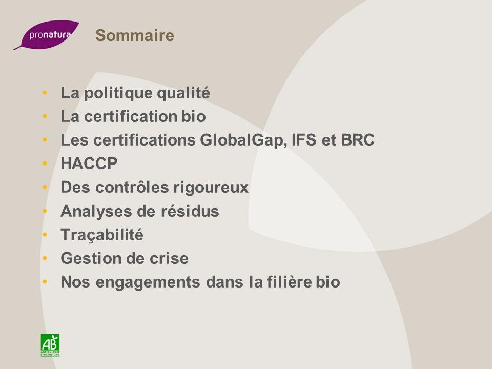 Sommaire La politique qualité. La certification bio. Les certifications GlobalGap, IFS et BRC. HACCP.