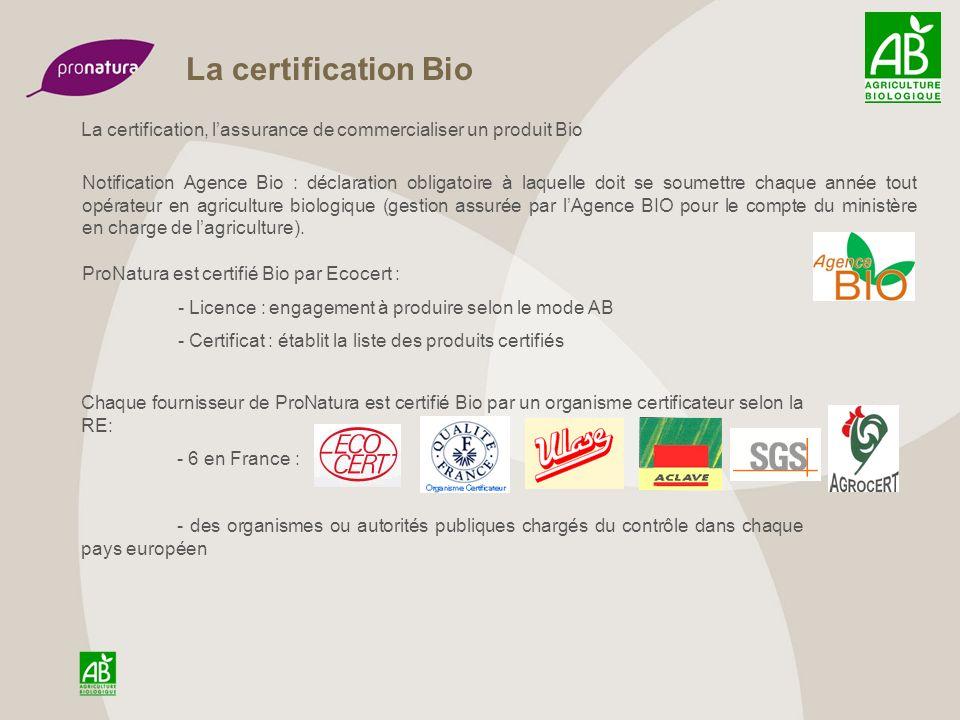 La certification Bio La certification, l'assurance de commercialiser un produit Bio.