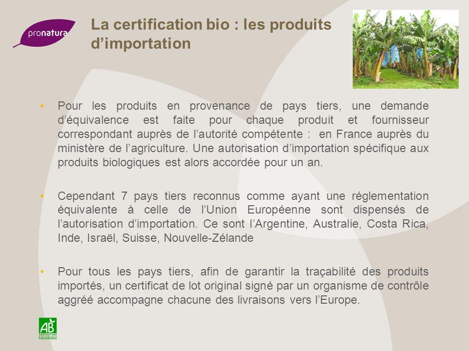 La certification bio : les produits d'importation