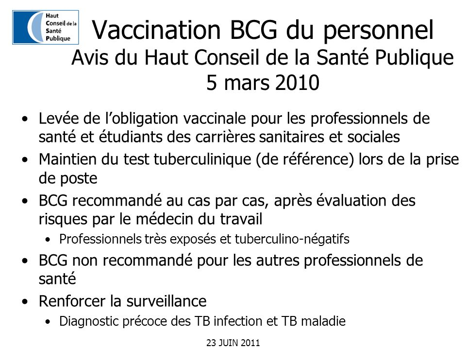 Vaccination BCG du personnel Avis du Haut Conseil de la Santé Publique 5 mars 2010