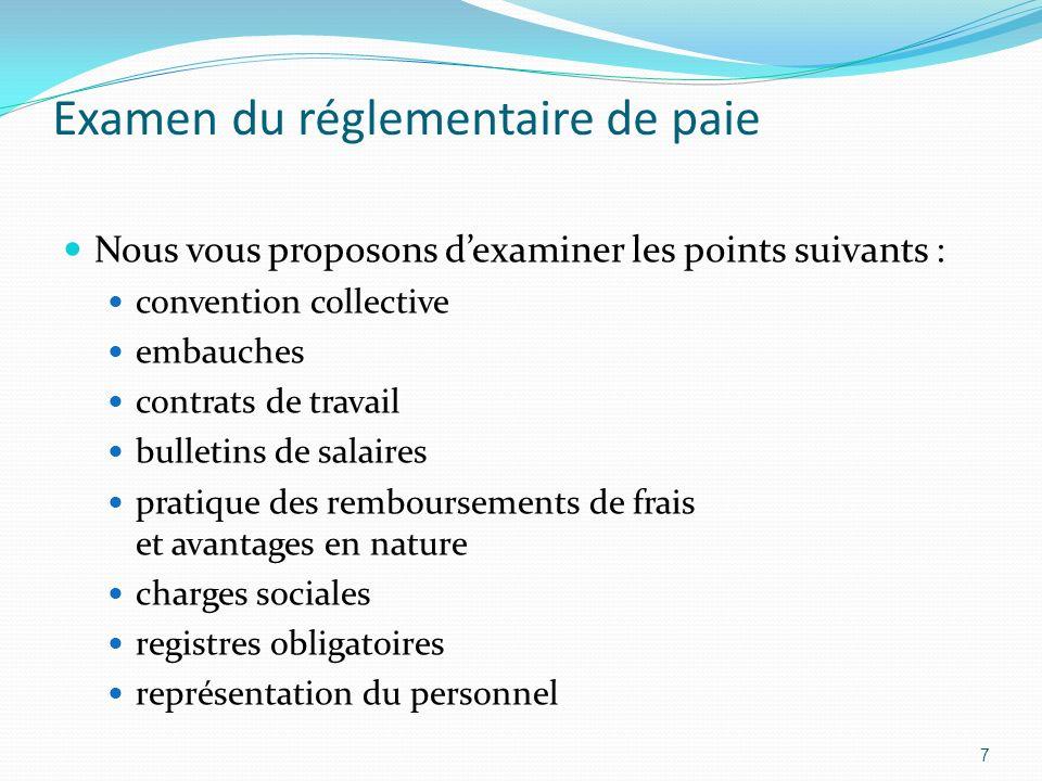 Examen du réglementaire de paie