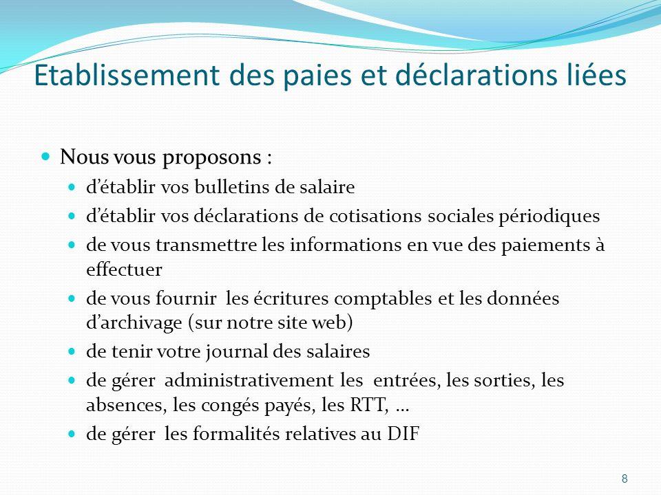 Etablissement des paies et déclarations liées