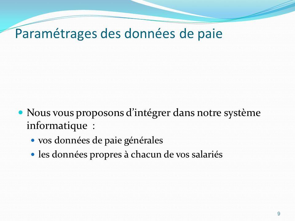 Paramétrages des données de paie