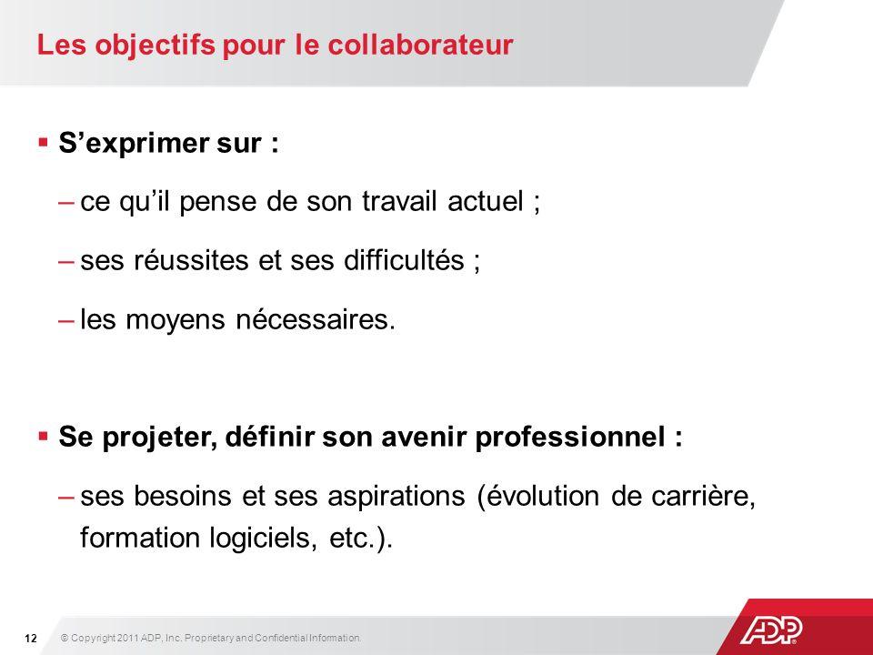 Les objectifs pour le collaborateur
