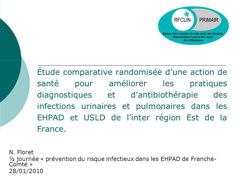 Étude comparative randomisée d'une action de santé pour améliorer les pratiques diagnostiques et d'antibiothérapie des infections urinaires et pulmonaires dans les EHPAD et USLD de l'inter région Est de la France.