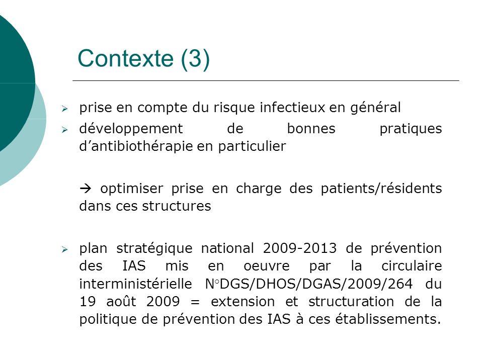 Contexte (3) prise en compte du risque infectieux en général