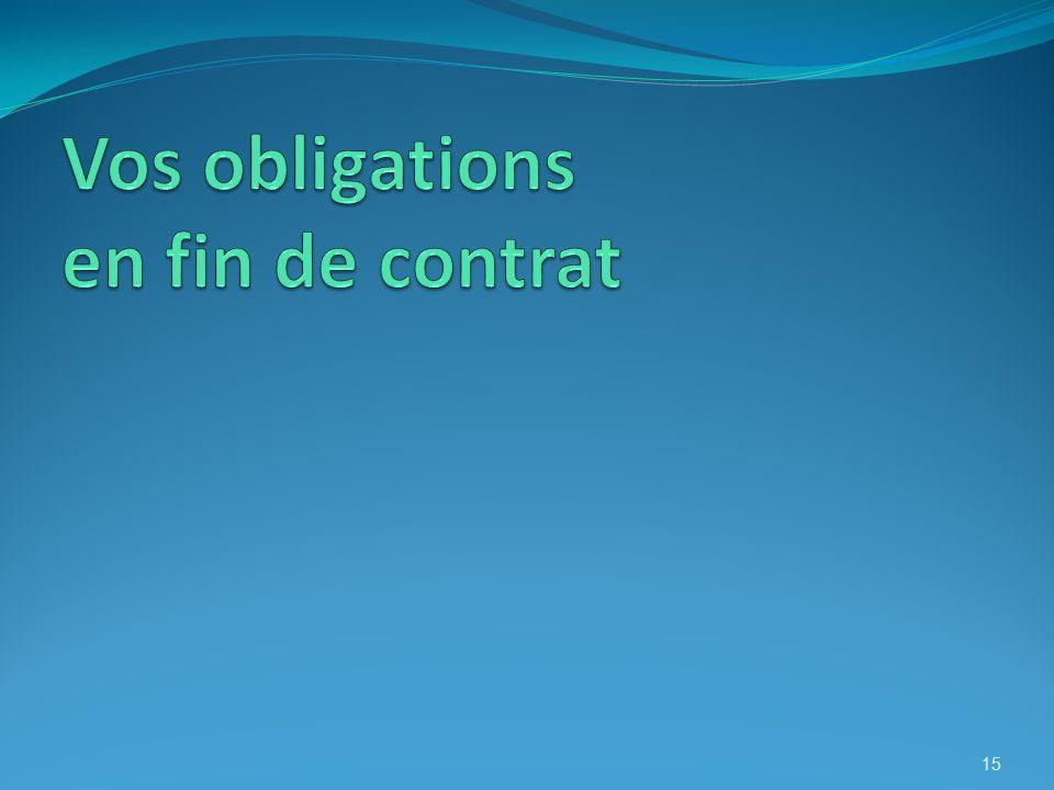 Vos obligations en fin de contrat