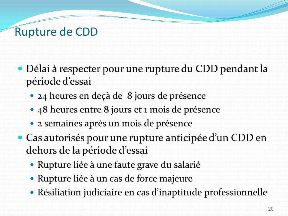 Rupture de CDDDélai à respecter pour une rupture du CDD pendant la période d'essai. 24 heures en deçà de 8 jours de présence.
