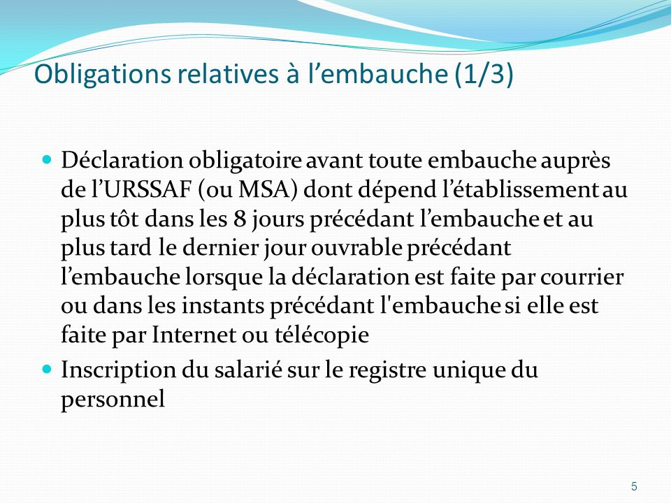 Obligations relatives à l'embauche (1/3)