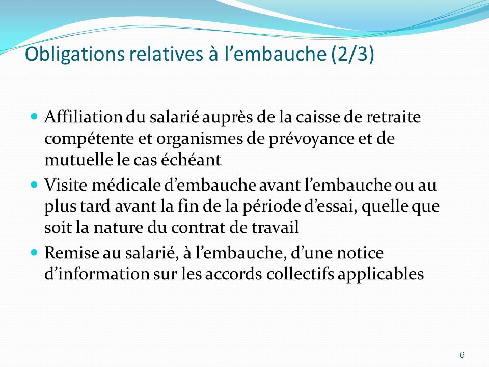 Obligations relatives à l'embauche (2/3)