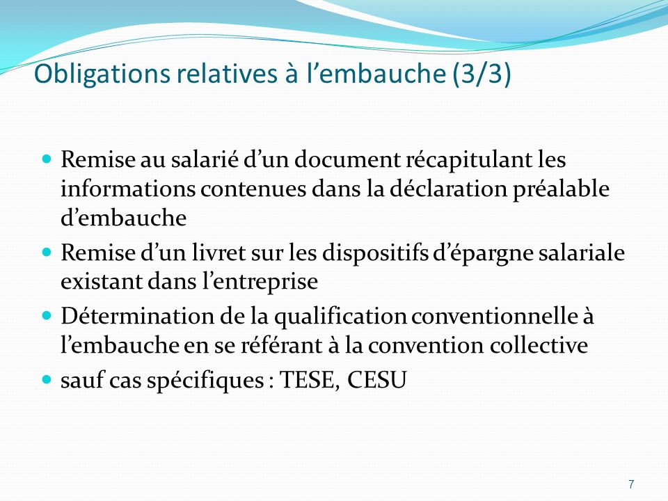 Obligations relatives à l'embauche (3/3)