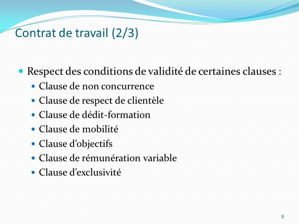 Contrat de travail (2/3) Respect des conditions de validité de certaines clauses : Clause de non concurrence.