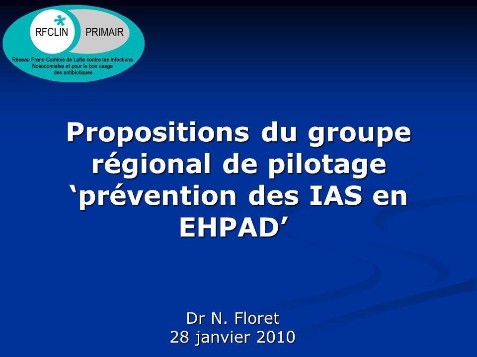 Propositions du groupe régional de pilotage 'prévention des IAS en EHPAD'