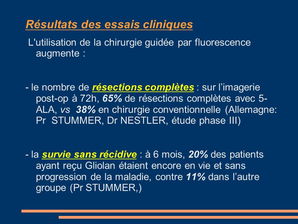 Résultats des essais cliniques