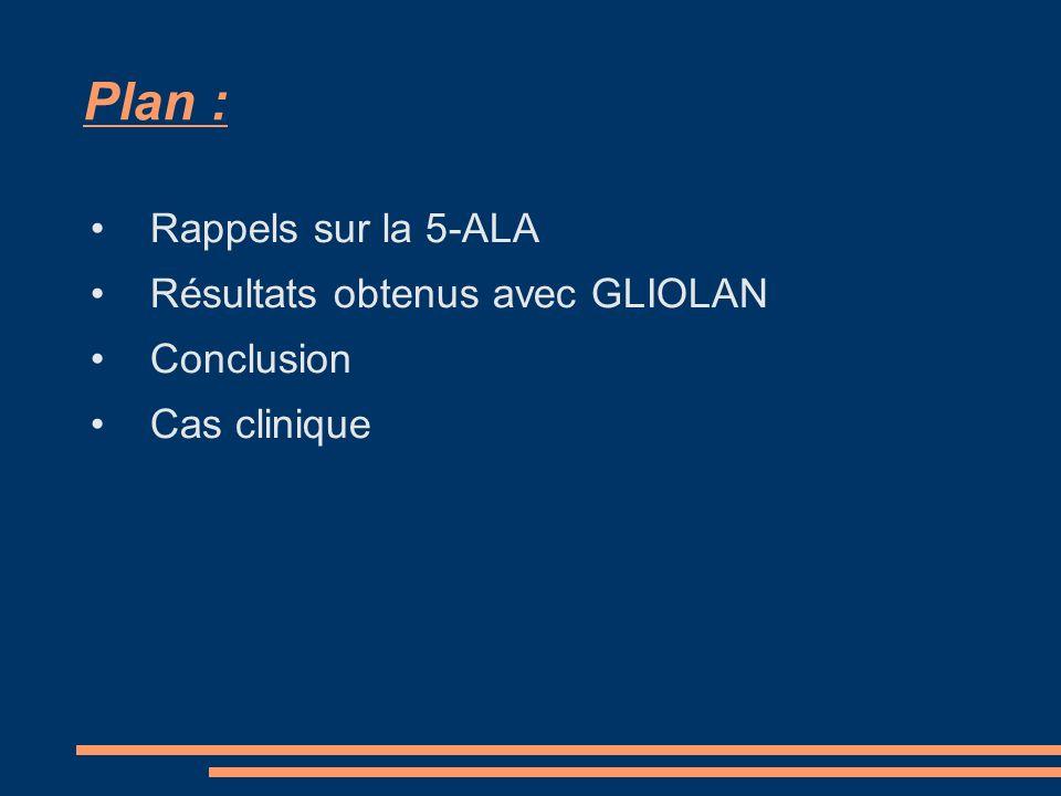 Plan : Rappels sur la 5-ALA Résultats obtenus avec GLIOLAN Conclusion