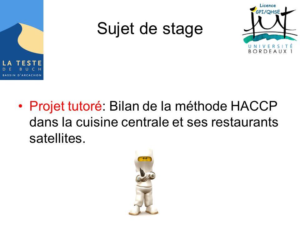 Sujet de stage Projet tutoré: Bilan de la méthode HACCP dans la cuisine centrale et ses restaurants satellites.