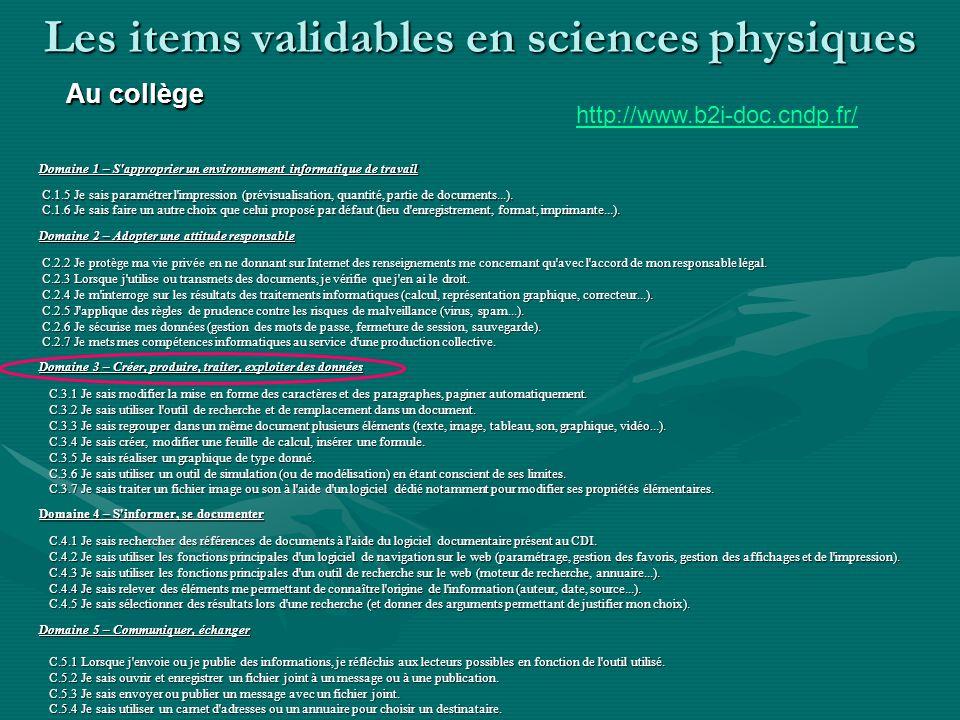 Les items validables en sciences physiques