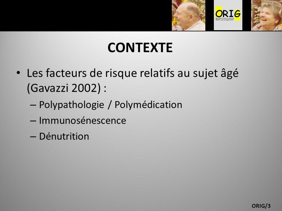 CONTEXTE Les facteurs de risque relatifs au sujet âgé (Gavazzi 2002) :