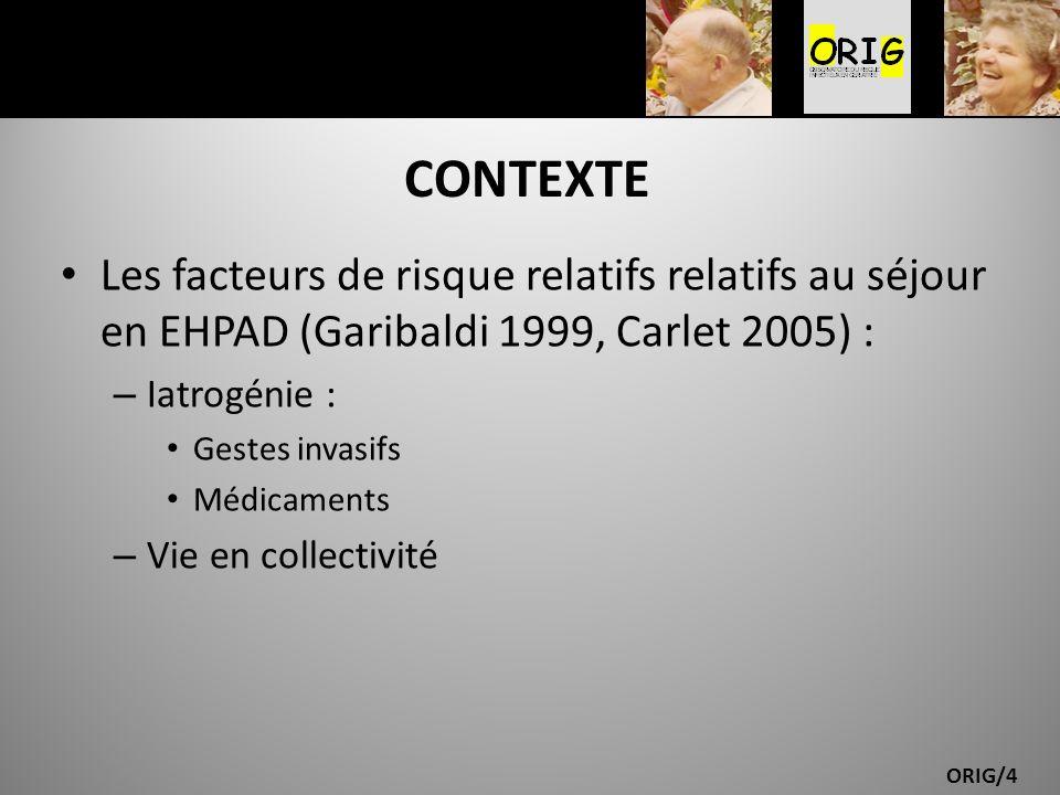 CONTEXTE Les facteurs de risque relatifs relatifs au séjour en EHPAD (Garibaldi 1999, Carlet 2005) :