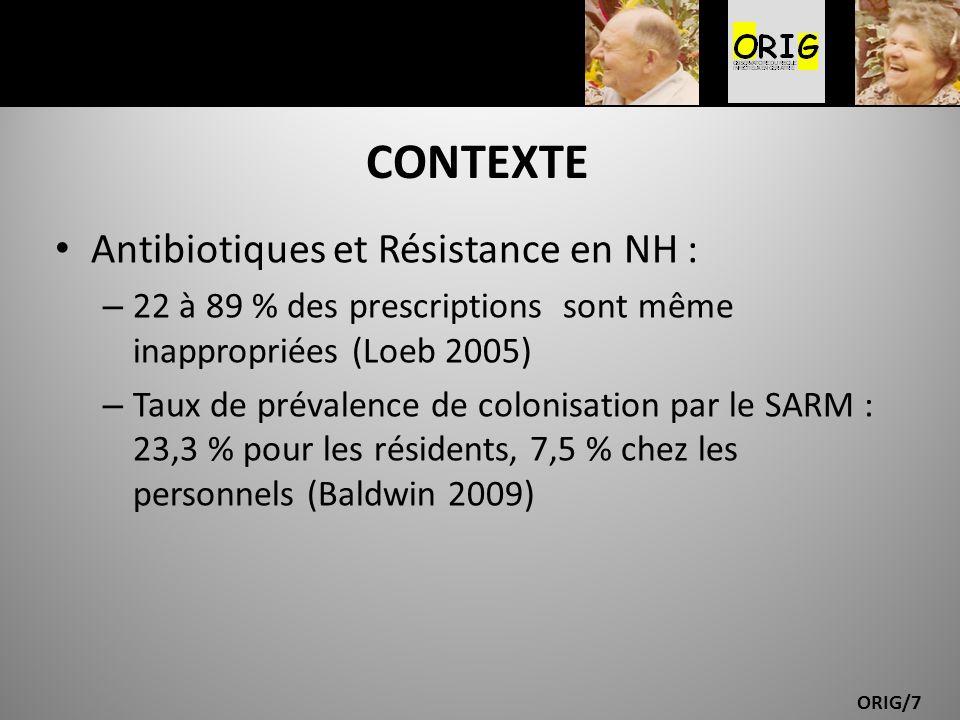 CONTEXTE Antibiotiques et Résistance en NH :