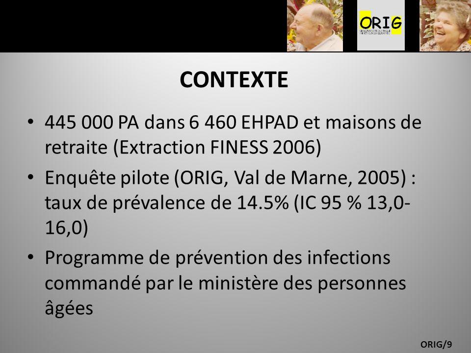 CONTEXTE 445 000 PA dans 6 460 EHPAD et maisons de retraite (Extraction FINESS 2006)