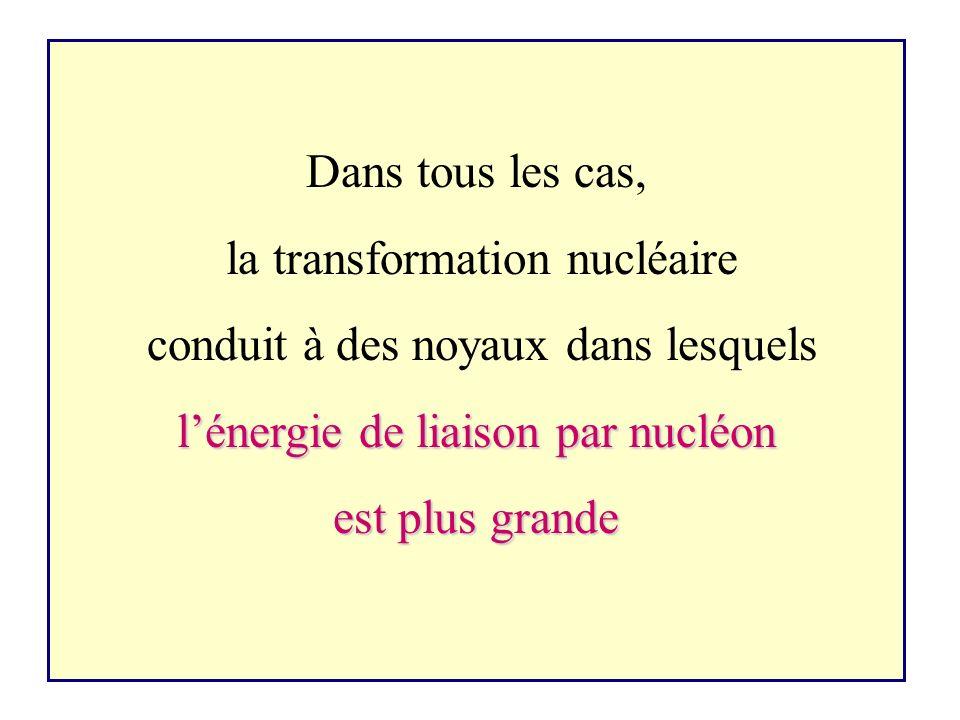 la transformation nucléaire conduit à des noyaux dans lesquels