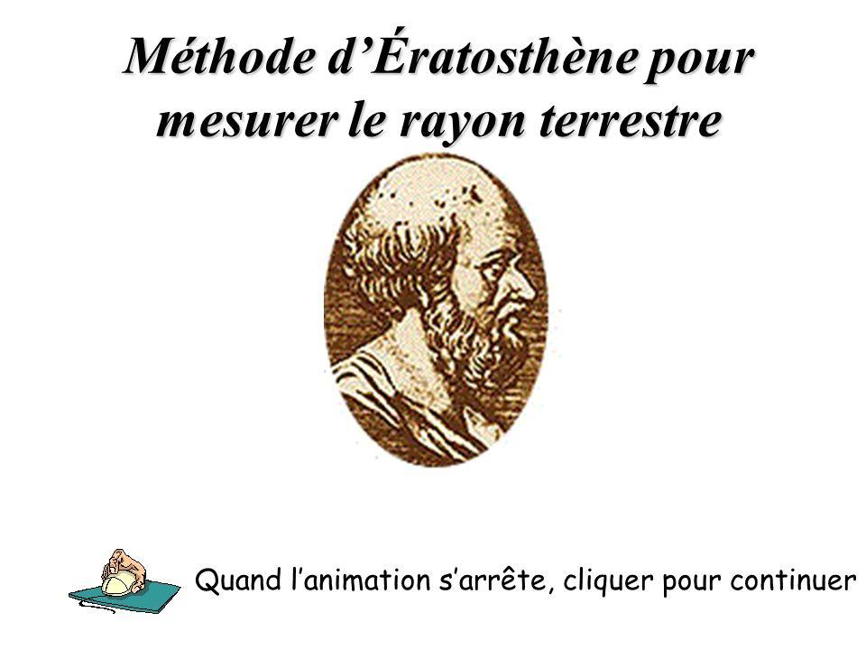 Méthode d'Ératosthène pour mesurer le rayon terrestre