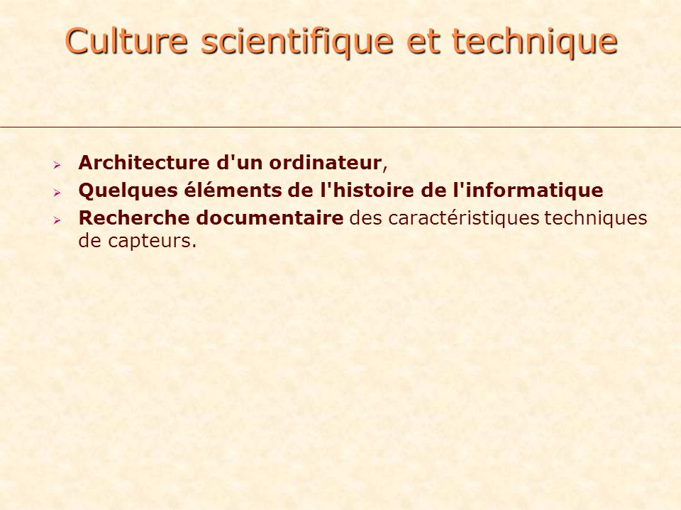 Culture scientifique et technique