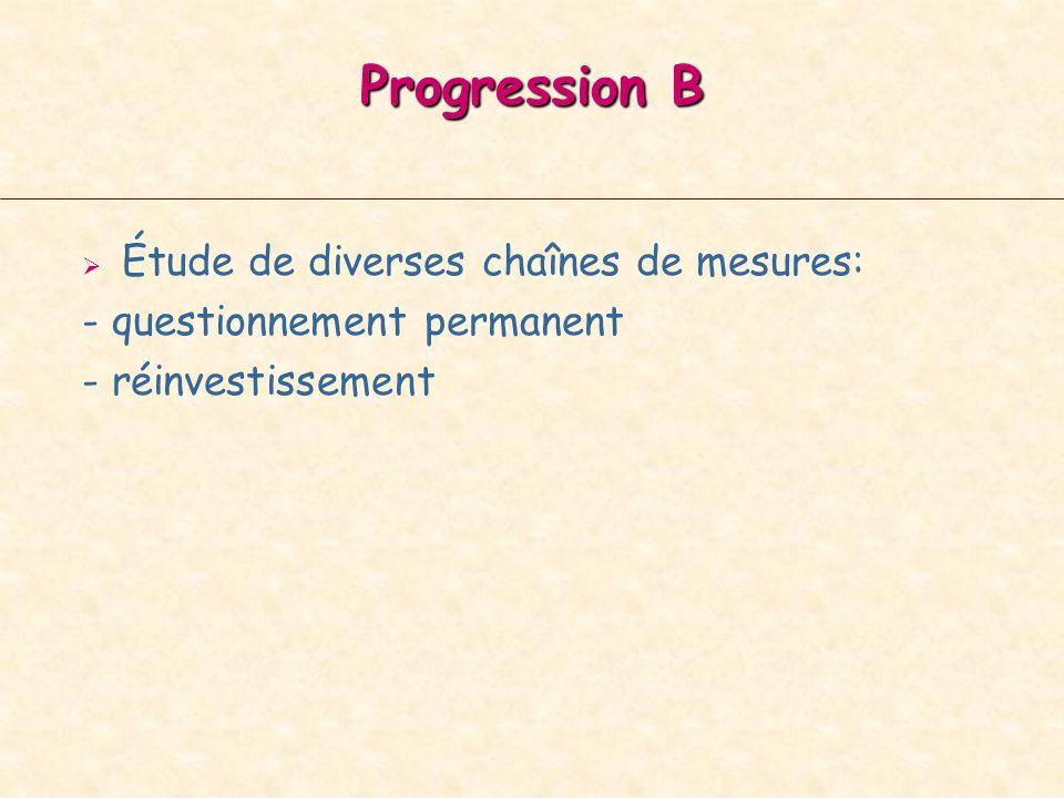 Progression B Étude de diverses chaînes de mesures: