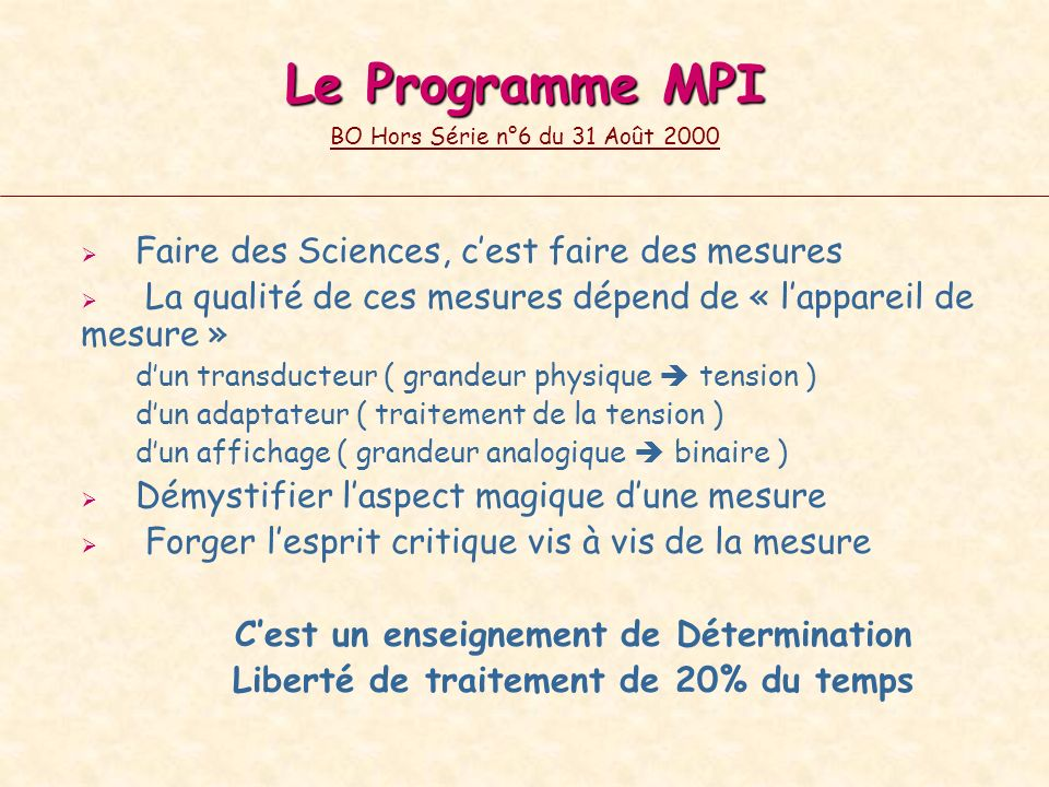 Le Programme MPI BO Hors Série n°6 du 31 Août 2000