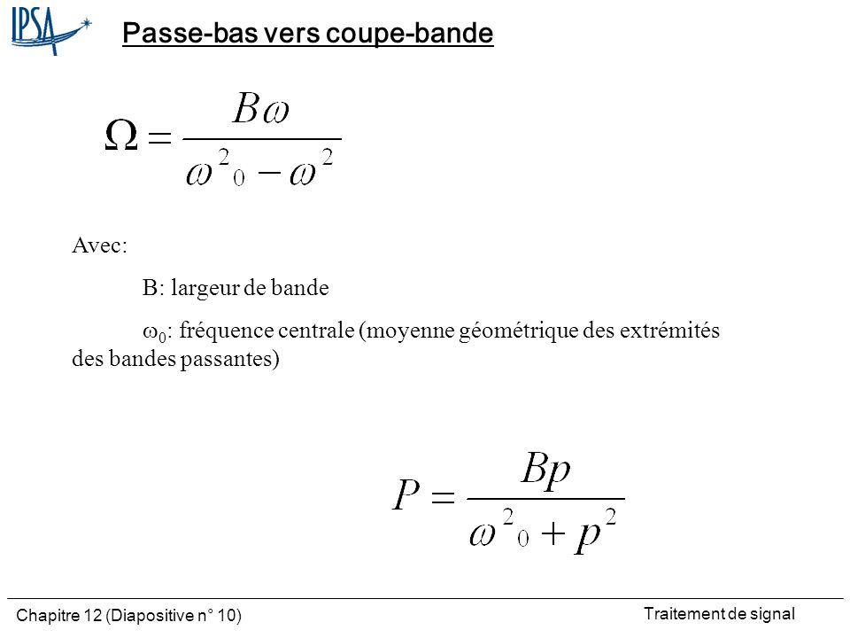 Passe-bas vers coupe-bande