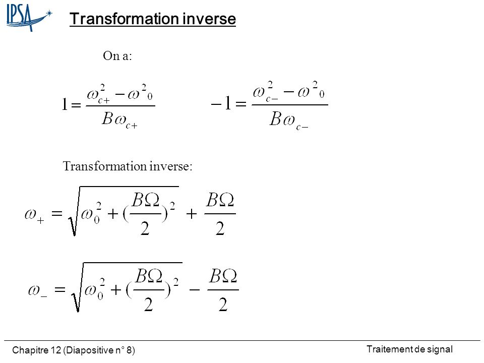 Transformation inverse