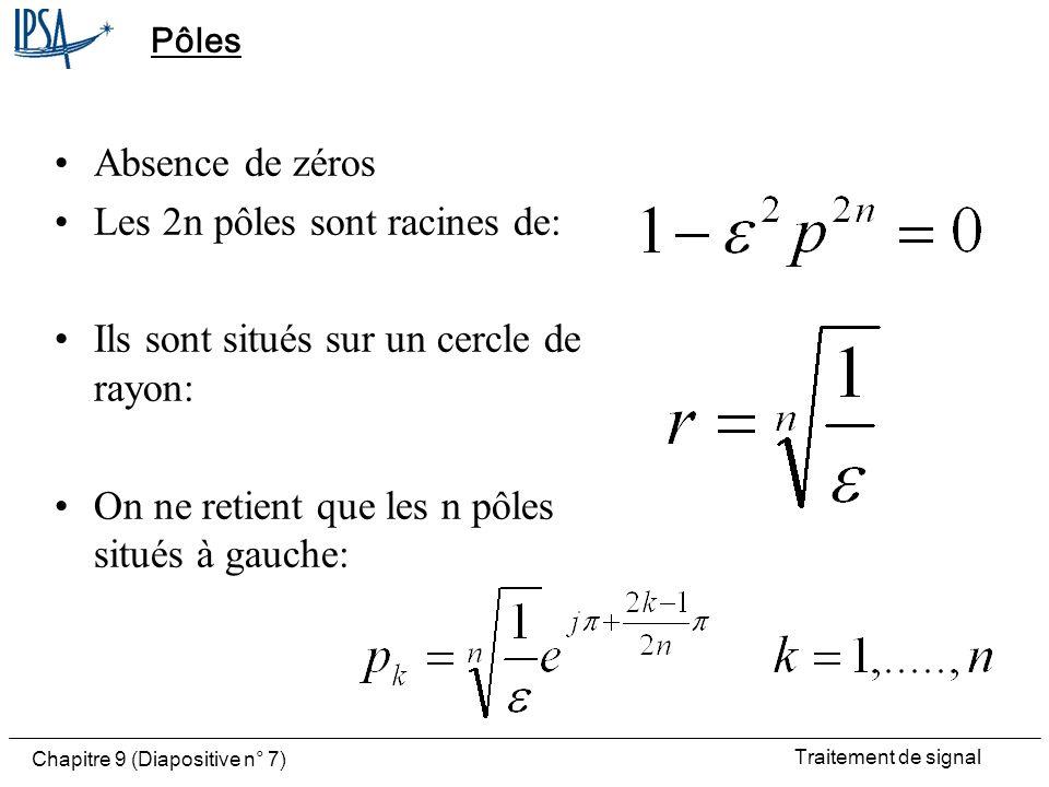 Les 2n pôles sont racines de: Ils sont situés sur un cercle de rayon: