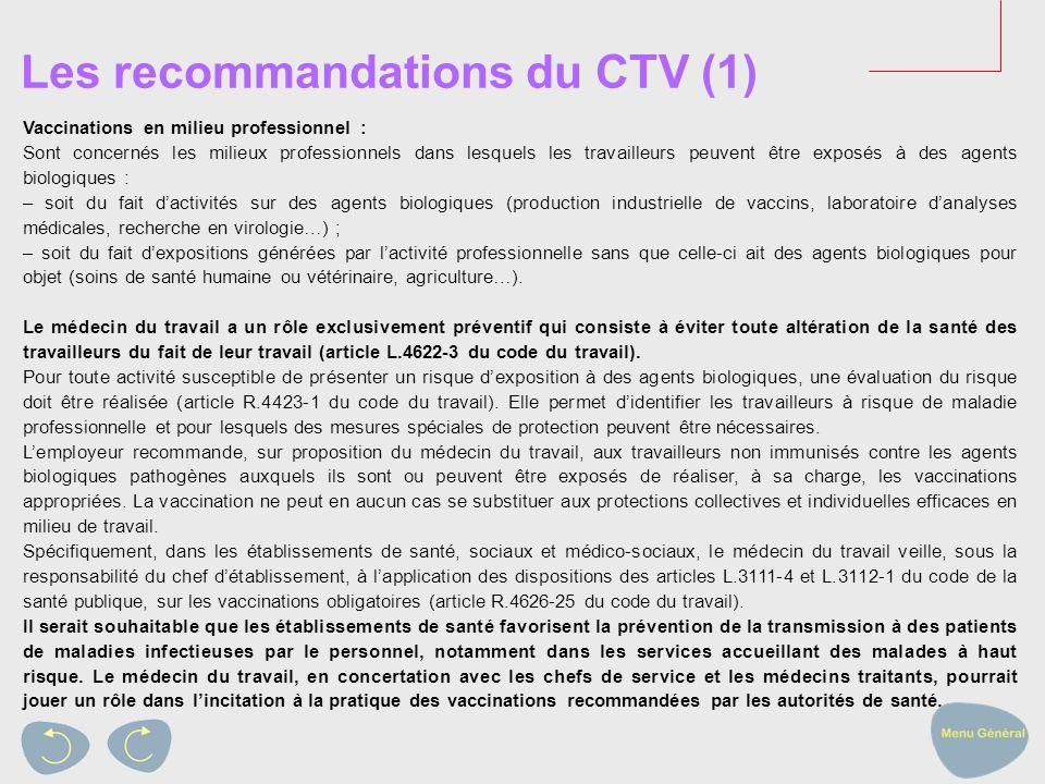 Les recommandations du CTV (1)