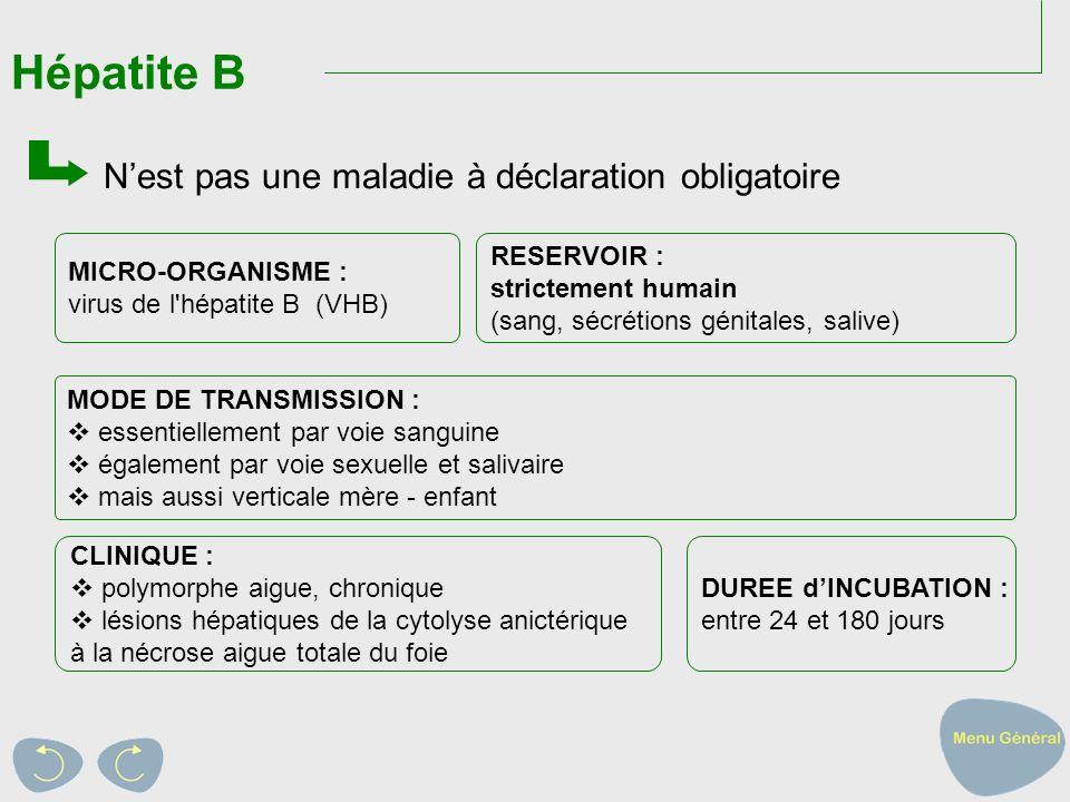 Hépatite B N'est pas une maladie à déclaration obligatoire