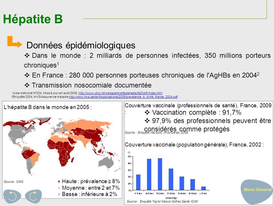 Hépatite B Données épidémiologiques
