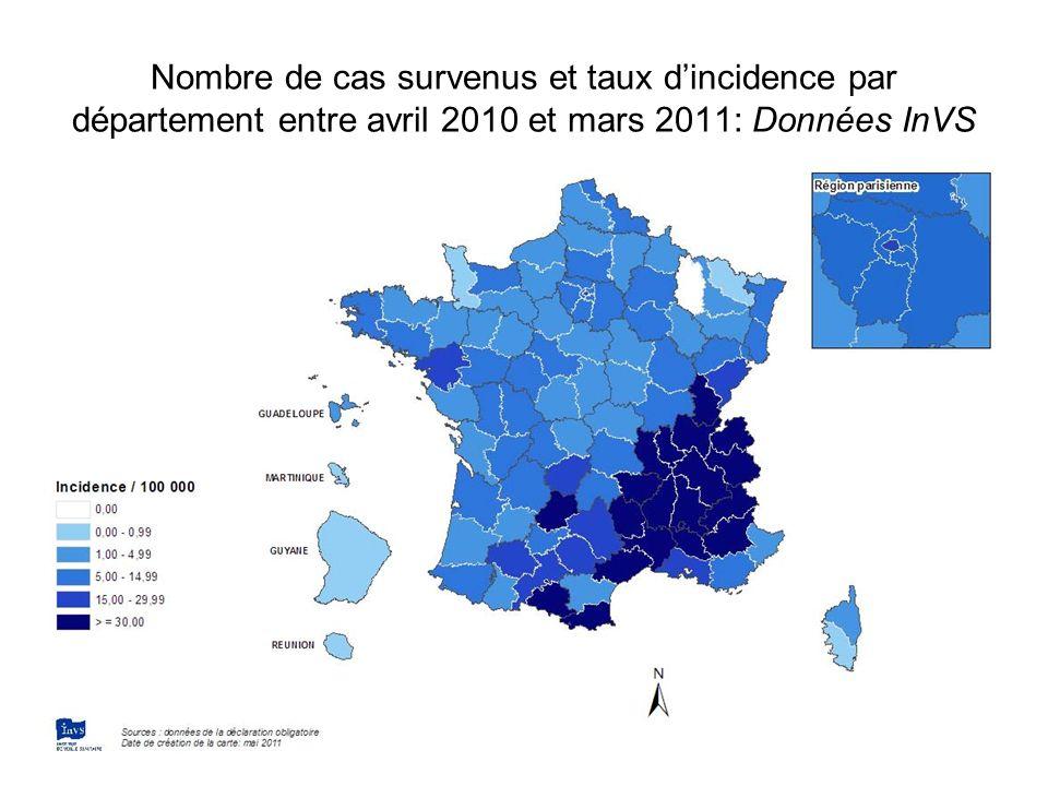 Nombre de cas survenus et taux d'incidence par département entre avril 2010 et mars 2011: Données InVS