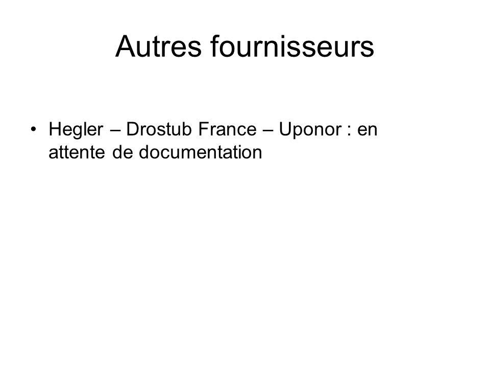 Autres fournisseurs Hegler – Drostub France – Uponor : en attente de documentation