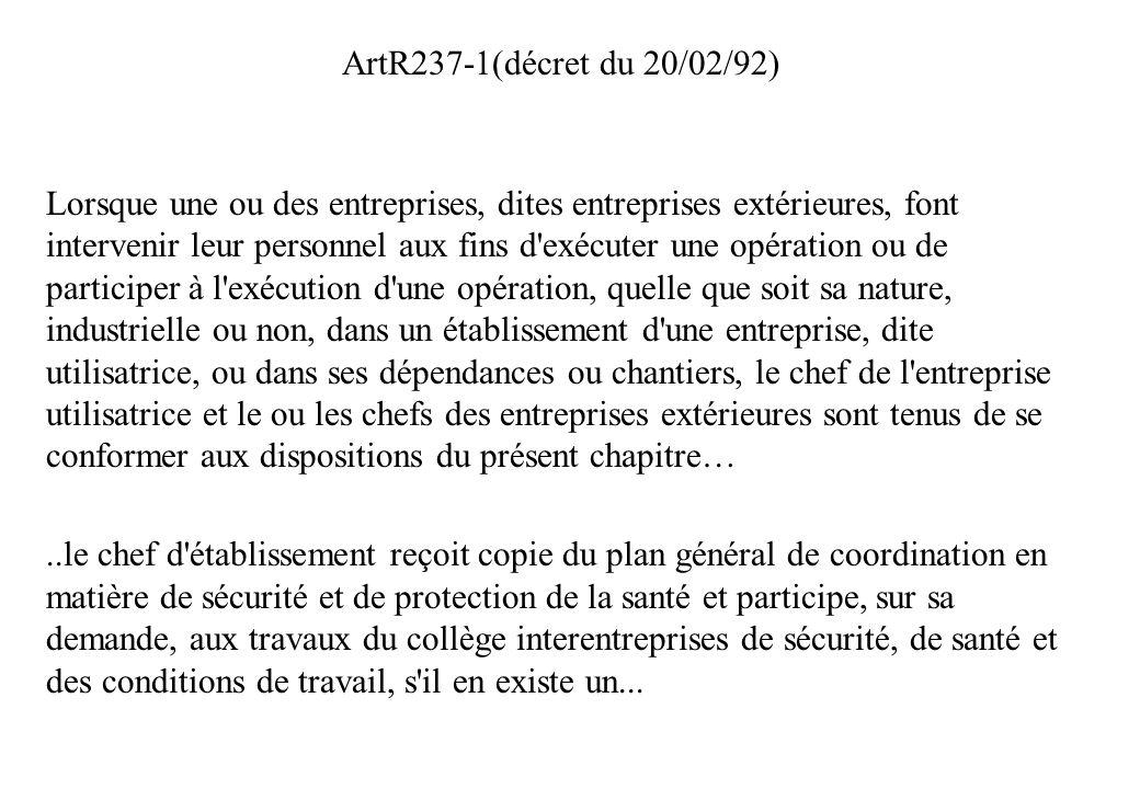 ArtR237-1(décret du 20/02/92)
