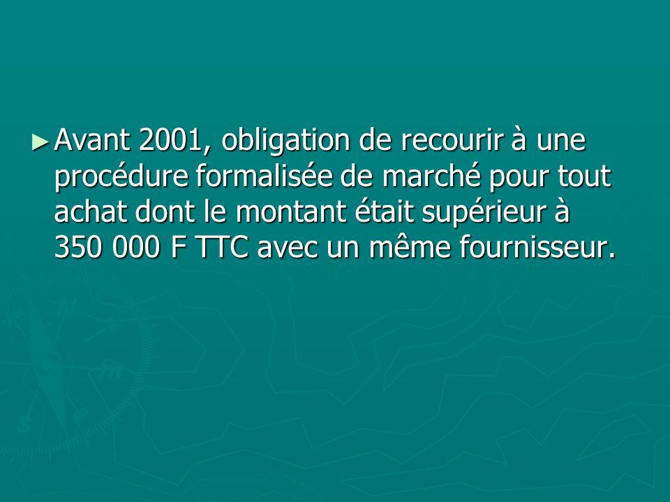 Avant 2001, obligation de recourir à une procédure formalisée de marché pour tout achat dont le montant était supérieur à 350 000 F TTC avec un même fournisseur.