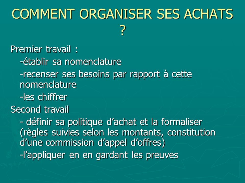 COMMENT ORGANISER SES ACHATS