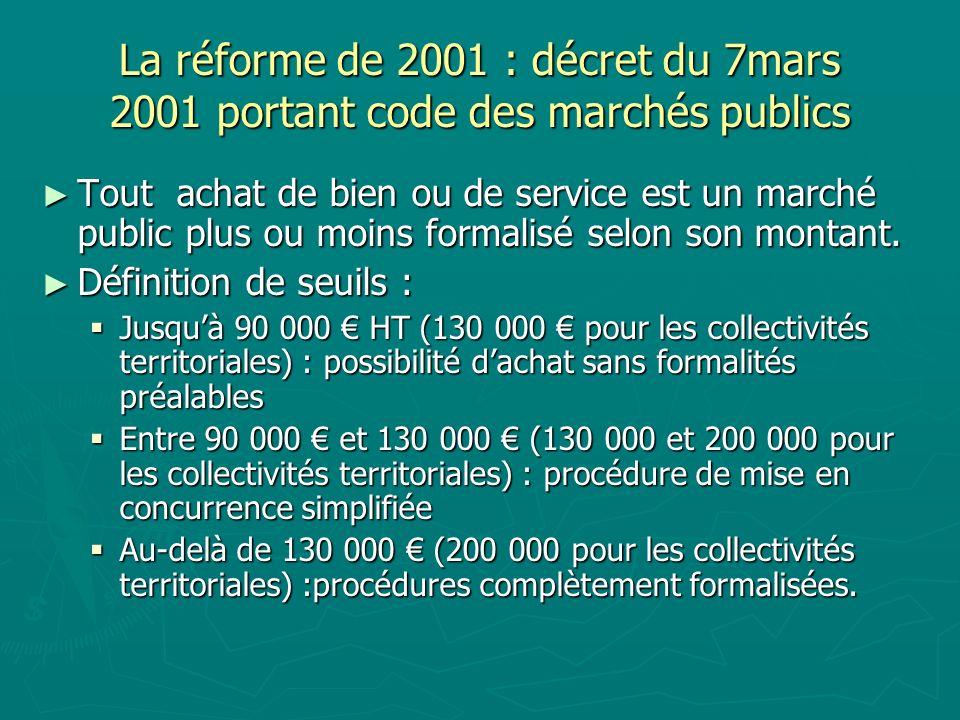 La réforme de 2001 : décret du 7mars 2001 portant code des marchés publics