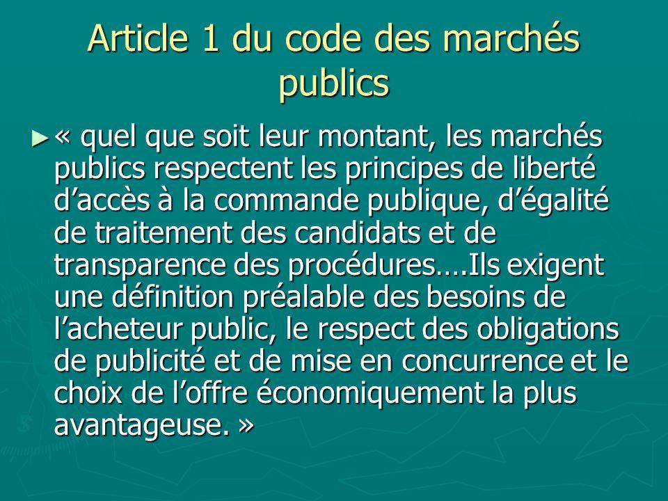 Article 1 du code des marchés publics