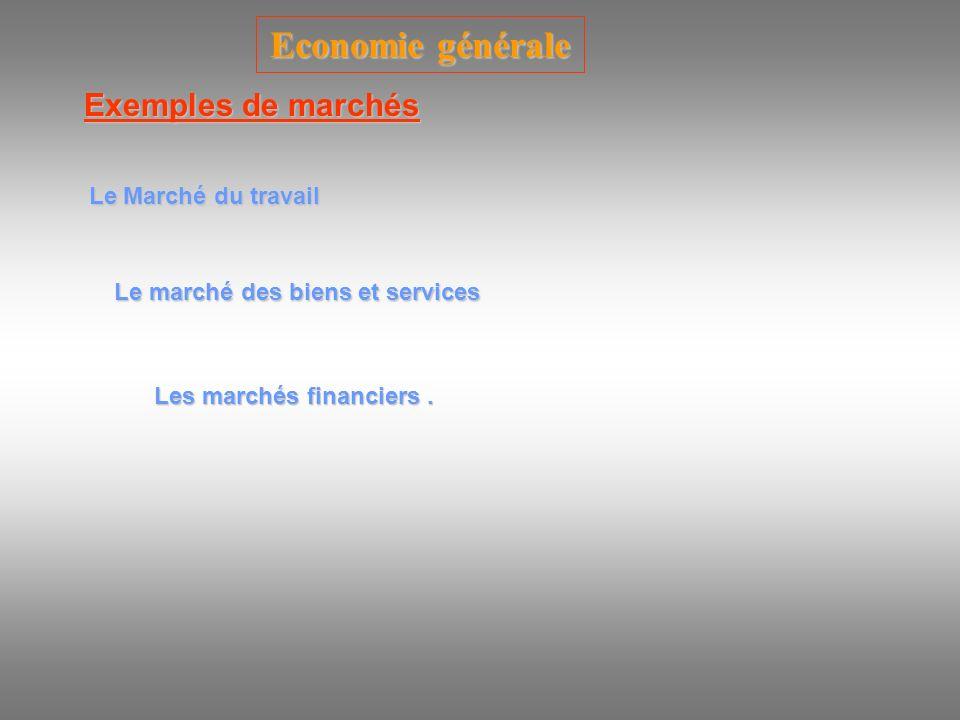 Economie générale Exemples de marchés Le Marché du travail