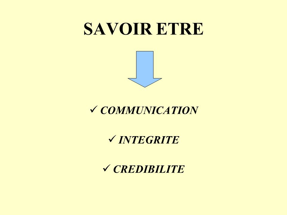 SAVOIR ETRE COMMUNICATION INTEGRITE CREDIBILITE