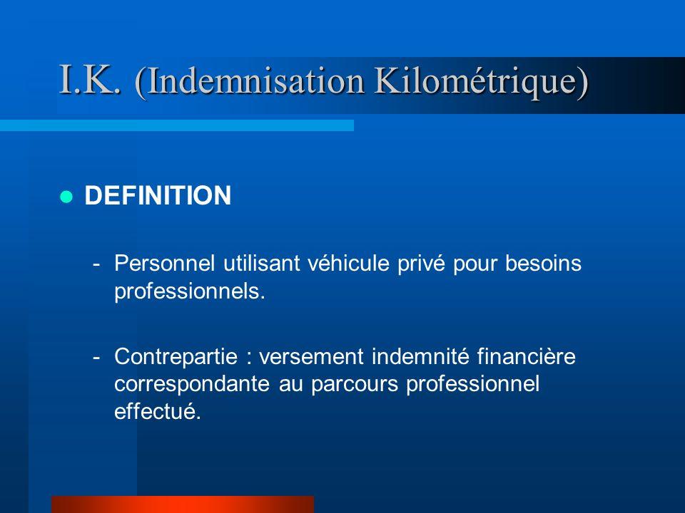 I.K. (Indemnisation Kilométrique)