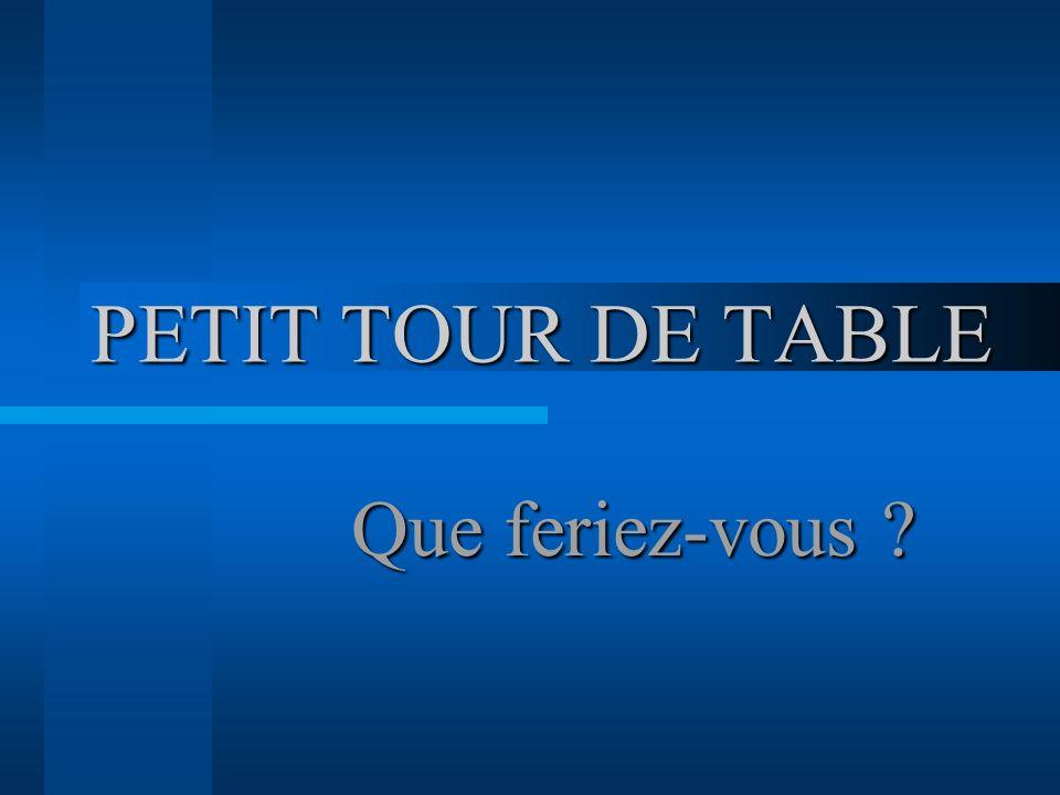 PETIT TOUR DE TABLE Que feriez-vous